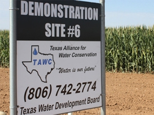 Sign at a demonstration site for the Texas Alliance for Water Conservation.
